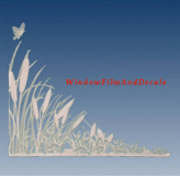 Cattails (Reversed) Static Cling Decal Corners - SJ355