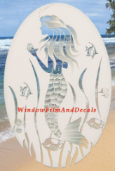 Mermaid Etched Glass Window Decal