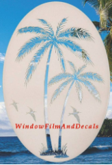 Palm Tree Static Cling Window Decal (Left)