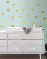 Gold Hearts Peel and Stick Wall Decals