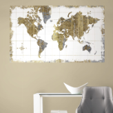 Gold World Map Peel and Stick Wall Mural