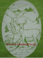 Deer Etched Window Decal