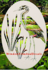 Egret & Cattails Right Window Decal