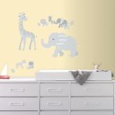 Gray Safari Animals Giant Wall Decals