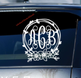 Floral Script Vine Monogram Car Window Decal