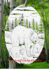 Bear Scene Static Cling Window Decal