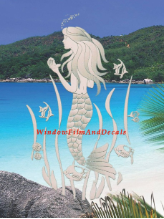 Mermaid (Reversed) Etched Glass Window Decal