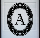 "Black Monogram 21"" x 28"" Static Cling Window Decal"