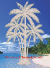 Palm Tree Reversed Window Decal (Center)