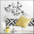 Scroll Tree Branch w/ Foil Leaves Wall Decals