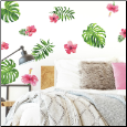 Tropical Hibiscus Flowers Wall Decals