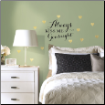 Always Kiss Me Goodnight Quote with Gold Hearts Wall Decals
