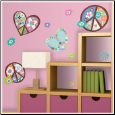 Hearts and Peace Signs Wall Decals