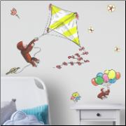 Curious George Storybook Kite Giant Wall Decal