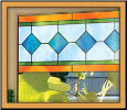 Charleston Stained Glass Window Film Border