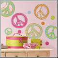 Glitter Peace Signs Wall Decals