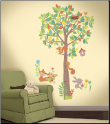 Woodland Creatures Giant Tree Wall Decals