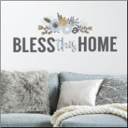 Bless This Home Floral Quote Wall Decal
