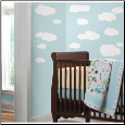 Clouds (White Background) Peel and Stick Wall Decals