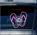 Flip Flop Vine Font Monogram Car Window Decal