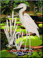 Egret & Cattails Right (Reversed) Static Cling Window Decal