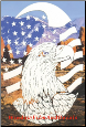 Flag & Eagle Static Cling Window Decal (Vertical)