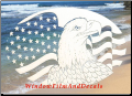 Flag & Eagle Static Cling Window Decal (Horizontal)