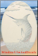 Marlin Etched Glass Window Decal