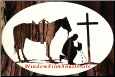 "Praying Cowboy Static Cling Window Decal 12"" x 8"""