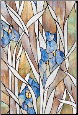 "Blue Iris Stained Glass Window Film 24"" x 36"""
