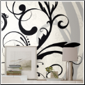 Black and White Scroll XL Prepasted Wallpaper Mural