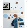 Just Dots Wall Stickers - Blue and Brown