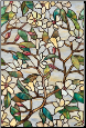 "Summer Magnolia Privacy Stained Glass Window Film 24"" x 36"""