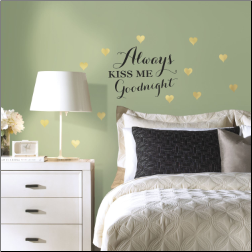 Always Kiss Me Quote with Gold Hearts Wall Decals
