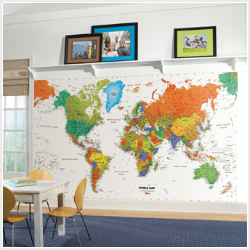 World Map XL Prepasted Wall Mural