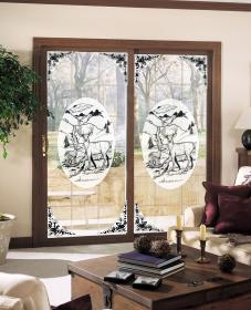 Deer Etched Glass Window Decal