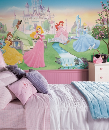 Disney dancing princess wall mural for Disney princess wall mural stickers