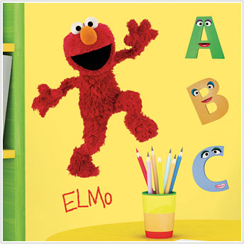 Giant elmo decal peel and stick removable wall stickers for Elmo wall mural