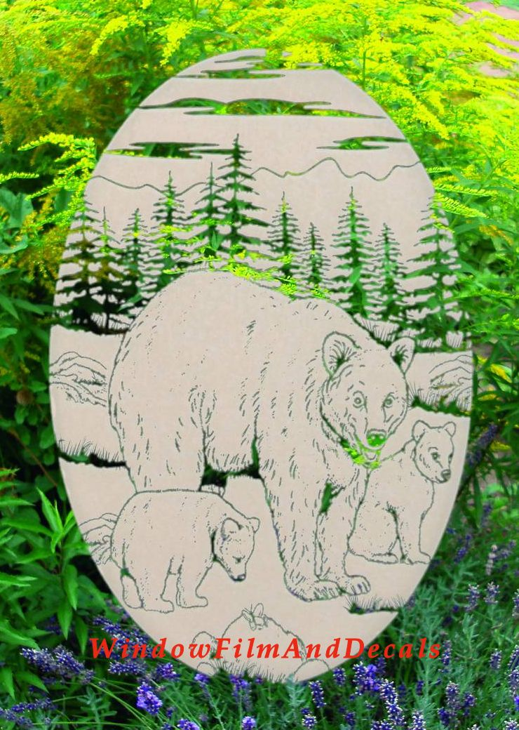 Bear Etched Glass Window Decal