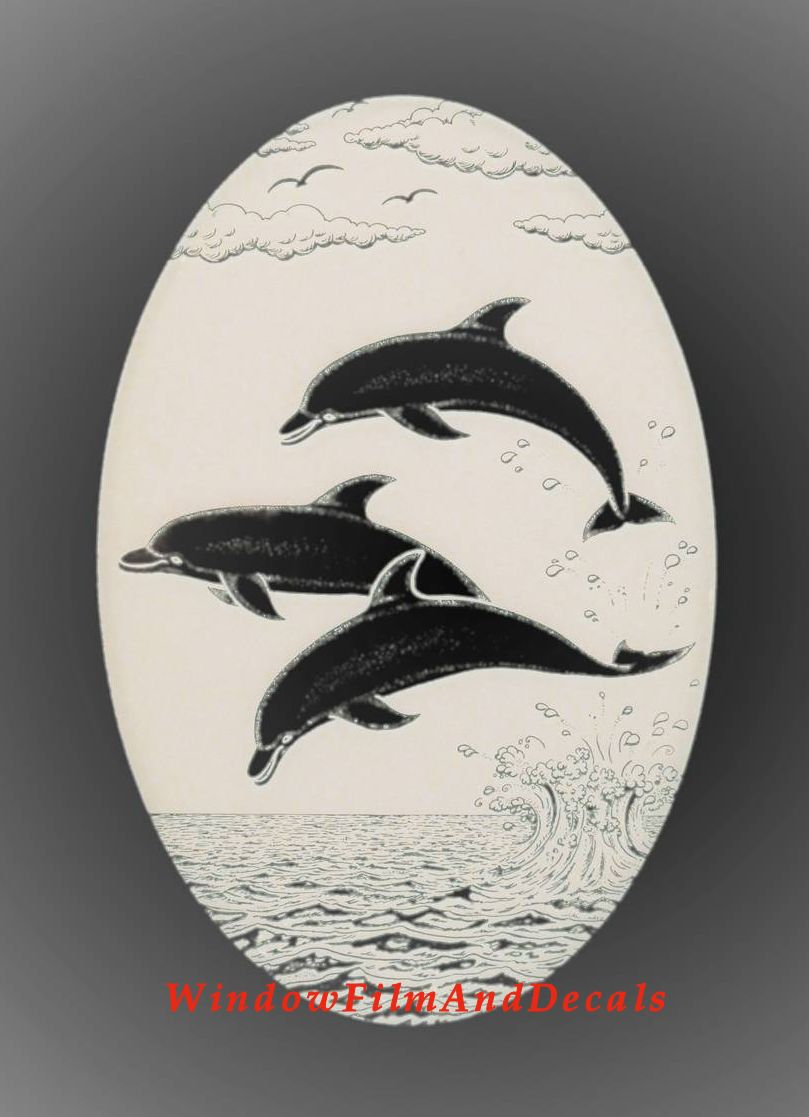 Dolphins Jumping Etched Glass Window Decal