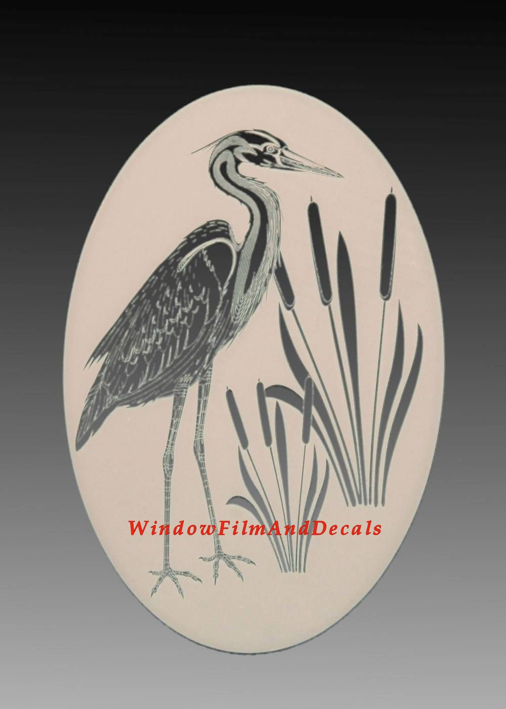 Egret Amp Cattails Left Etched Glass Vinyl Window Decal