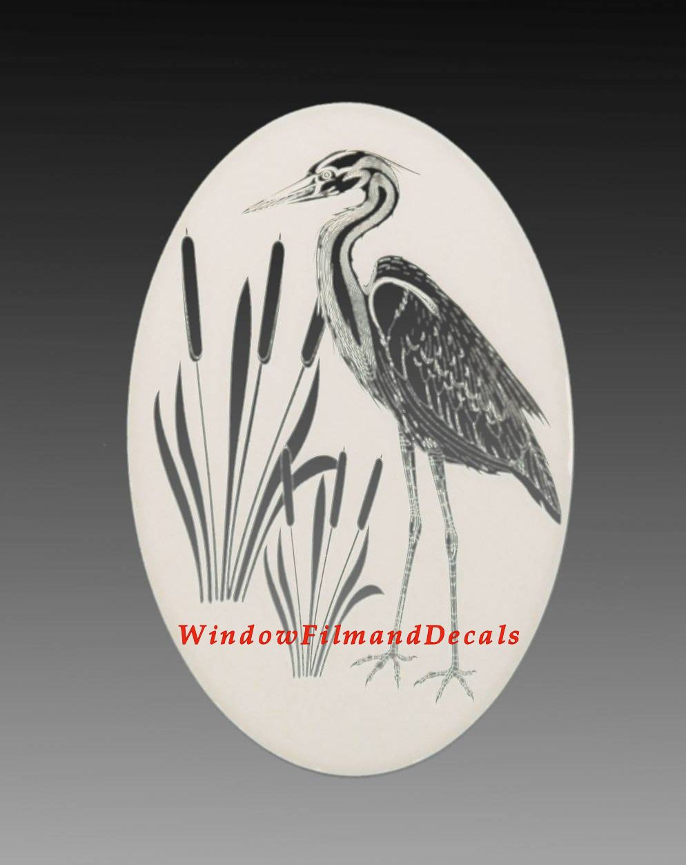 Egret Amp Cattails Right Etched Glass Vinyl Window Decal