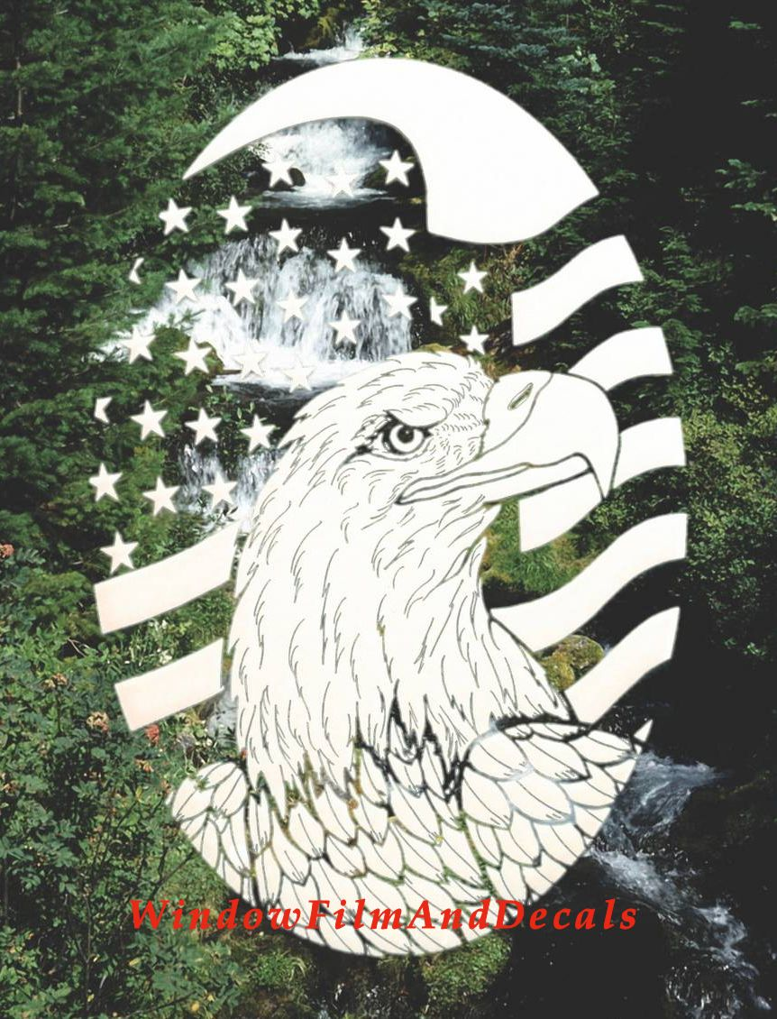 Flag And Eagle Window Decal