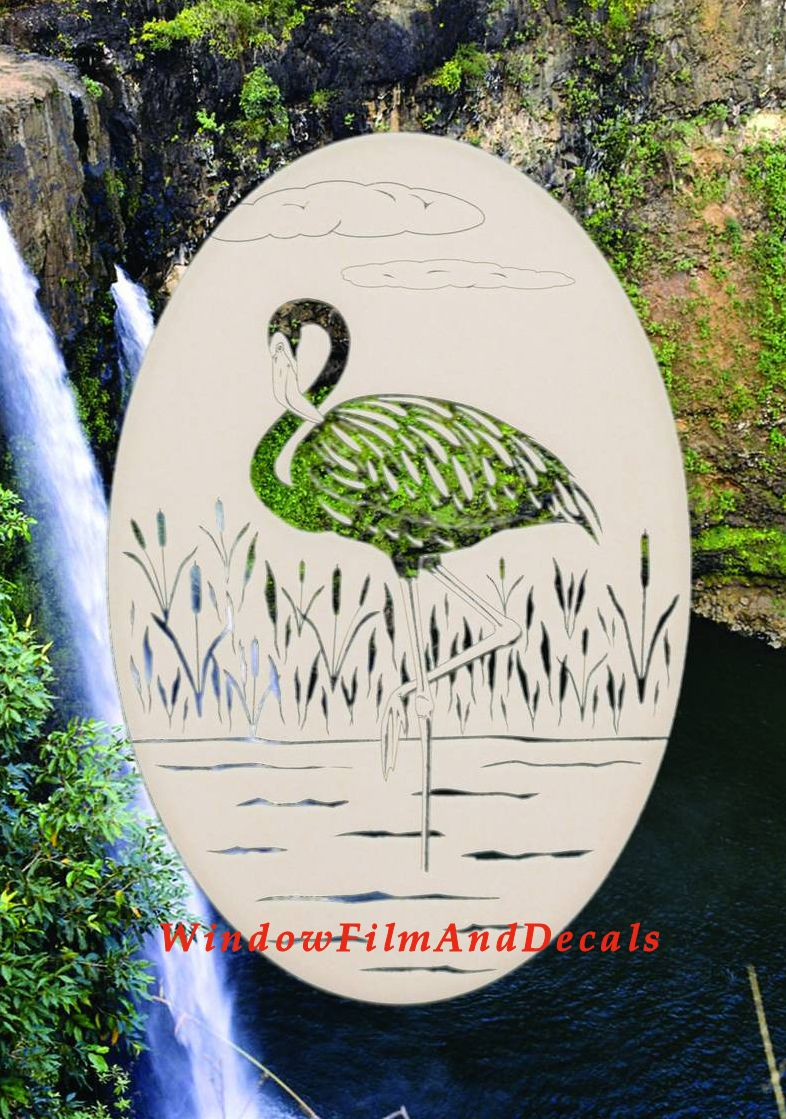 Flamingo Etched Glass Window Decal