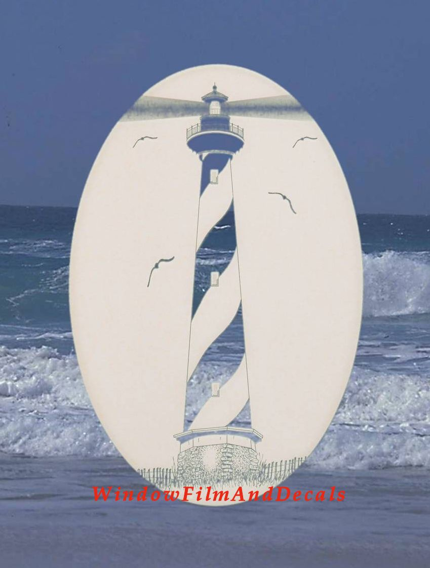 Hatteras Lighthouse Etched Oval Window Decal