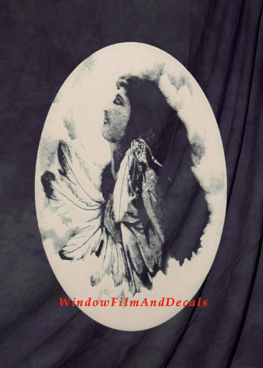 Indian Princess Etched Glass Window Decal