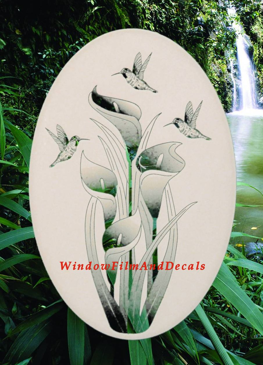 Lily And Hummingbirds Etched Window Decal