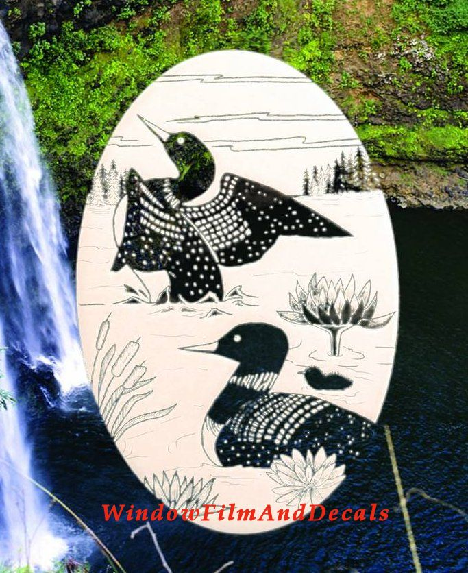 Loon Etched Glass Window Decal