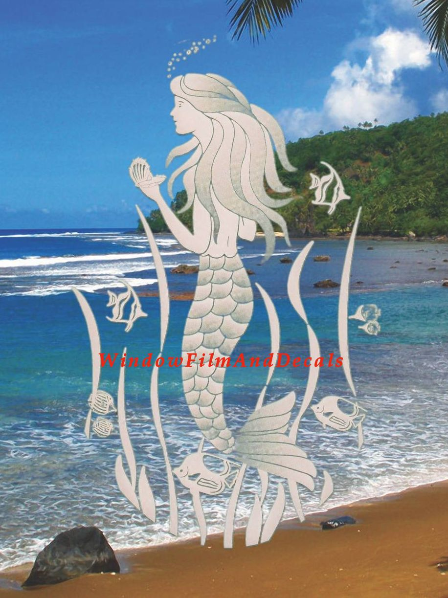 Mermaid Etched Glass Vinyl Window Decal