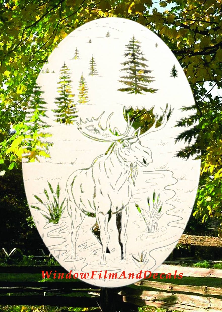 Moose Scene Etched Glass Vinyl Window Decal